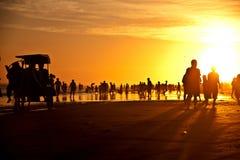 在Parangtritis海滩的黄昏 免版税库存图片
