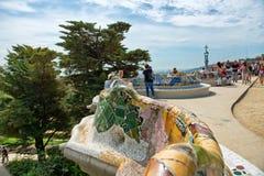在Parc Guell的主要大阳台在巴塞罗那,西班牙 库存图片