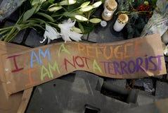 在PARIS_COPENHAGEN攻击的恐怖丹麦 免版税库存照片