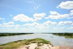在parnaiba河三角洲的biffurcation 免版税图库摄影