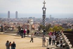 在parque Guell的看法在巴塞罗那,西班牙 免版税库存照片
