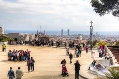 在parque Guell的看法在巴塞罗那,西班牙 库存图片