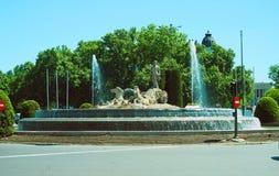 在Paseo del Prad的海王星Fountain Plaza de C0novas del卡斯蒂略 免版税库存照片