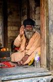 在Pashupatinath的一sadhu在加德满都,尼泊尔 免版税库存照片