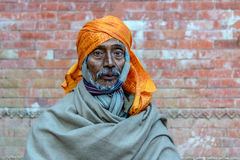 在Pashupatinath的一sadhu在加德满都 免版税库存照片