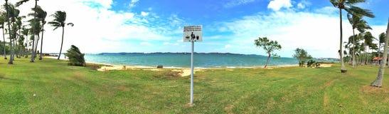 在Pasir Ris海滩,新加坡的路标 图库摄影