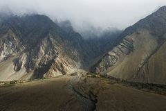 在Passu村庄,巴基斯坦附近的看法 库存照片