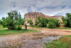 在patra里约附近的堡垒希腊 库存照片