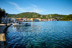 在Paxos海岛的Gaios口岸在希腊 免版税图库摄影