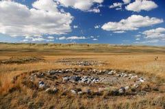 在Pazyryk文化古老Scythian埋葬站点的考古学挖掘在河Ak-Alaha的,找到m 免版税图库摄影