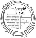 在PCB布局样式的圆的框架文本或设计的 图库摄影