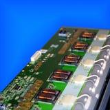 在PCB排列的电子变压器 免版税库存图片