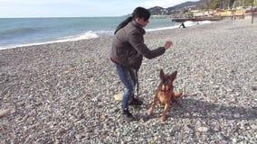 在Pebble海滩的青少年的女孩训练狗 股票录像