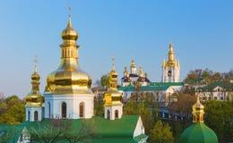 在Pechersk拉夫拉的看法在基辅,乌克兰耸立 免版税库存图片