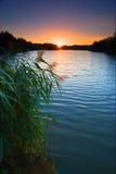 在peetmore日落的盐水湖 免版税库存照片