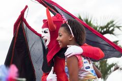在Pelourinho的狂欢节庆祝在萨尔瓦多巴伊亚,巴西 图库摄影