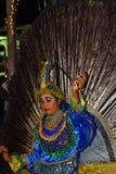 在perahera的孔雀舞蹈,斯里兰卡 免版税图库摄影
