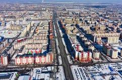 在Permyakova街道上的俯视图 秋明州 俄国 免版税库存照片