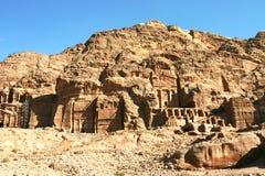 在Petra乔丹的山和沙子横向 免版税库存图片