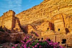 在Petra,约旦的日落 库存图片