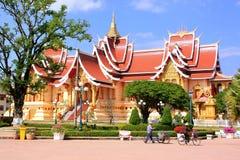 在Pha的寺庙Luang复合体,万象,老挝 免版税库存照片