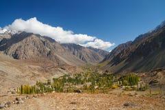 在Phandar湖,北巴基斯坦附近的美丽的谷 免版税库存照片