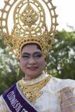 在Phangan颜色中秋节期间的画象泰国妇女,泰国 库存照片