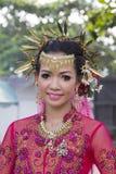 在Phangan颜色中秋节期间的画象泰国妇女,泰国 免版税图库摄影