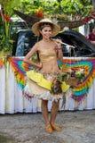 在Phangan颜色中秋节期间的画象泰国妇女,泰国 免版税库存照片