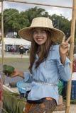 在Phangan颜色中秋节期间的画象泰国妇女,泰国 免版税库存图片