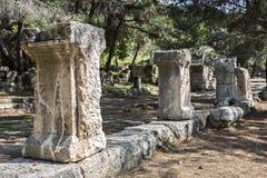 在Phaselis主路的Colums在安塔利亚 库存照片