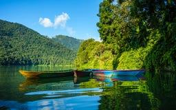 在Phewa湖的五颜六色的小船在博克拉 库存图片