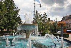 在Piac (市场)街道上的喷泉在德布勒森 匈牙利 免版税图库摄影