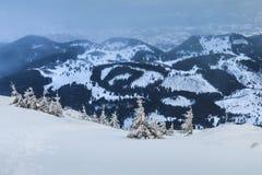在Piatra Craiului山的暴风雪 免版税库存照片
