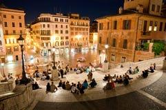 在Piazza从在楼上的di Spagna的夜视图 库存照片