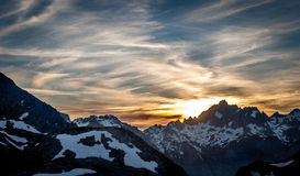 在Picos De Europa Mountains的日落 库存照片