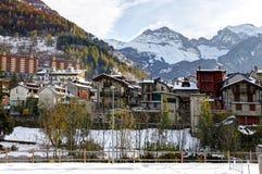 在piemonte手段滑雪附近的法国意大利limone 免版税库存照片