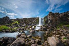 在Pingvellir国家公园的Oxararfoss在冰岛 库存照片