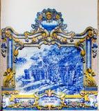 在Pinhao,杜罗河谷,葡萄牙的火车站的Azulejos 免版税库存照片
