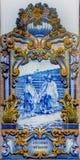 在Pinhao,杜罗河谷,葡萄牙的火车站的Azulejos 库存图片