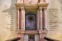 在Pinkas犹太教堂, PR墙壁上的集中营名单  库存图片