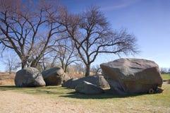 在Pipestone的三个未婚岩石 库存照片