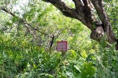 在Pipiwai足迹海勒卡拉国家公园的危险标志在毛伊,夏威夷 库存照片