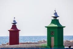 在piran的两座灯塔 免版税库存照片