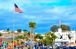 在Pismo海滩的美国国旗 免版税图库摄影