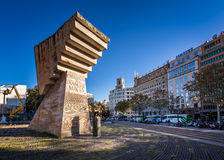 在Placa de Catalunya,巴塞罗那,西班牙的Francesc Macia纪念品 免版税库存图片