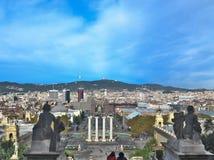 在Placa从MNAC的de Espanya的看法在巴塞罗那 库存照片