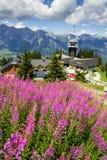 在Planai自行车和滑雪前面的游人地区在施拉德明,奥地利 库存照片