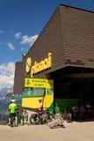 在Planai滑雪的Bikepark开始地区2017年8月15日在施拉德明,奥地利 图库摄影