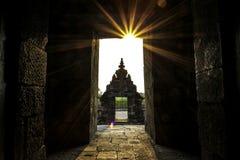 在Plaosan寺庙的日落 免版税库存照片